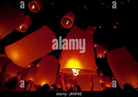 Floating lantern in Yee Peng festival (Loy Krathong) - Stock Photo