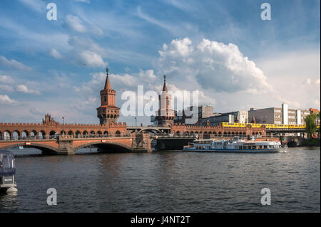 Berlin, Germany - may 12, 2017: Panoramic view on river Spree and  Oberbaumbrücke (Oberbaum Bridge) in Berlin. The - Stock Photo