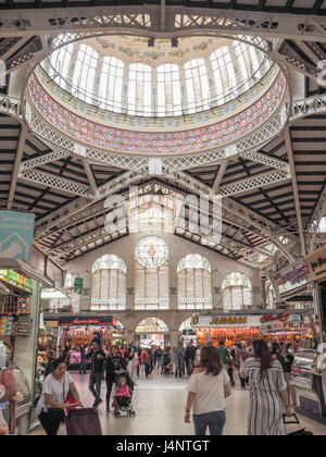 a view of Central Market Mercado Central Valencia including the ceiling dome, Spain - Stock Photo