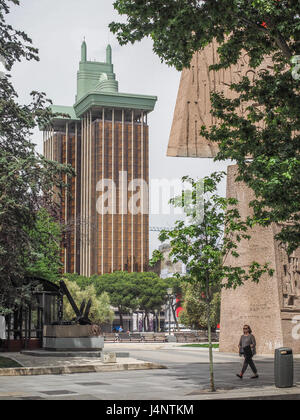 a view of Torres Colon towers through Plaza Colon and Jardines del Descubrimiento Monument to the Discovery of America, - Stock Photo
