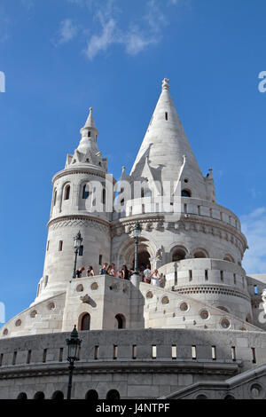 Part of Fisherman's Bastion (Halászbástya), a terrace in neo-Gothic and neo-Romanesque style, which overlooks the - Stock Photo
