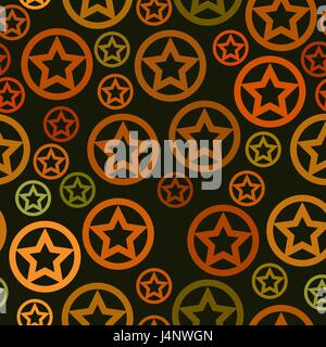 vector seamless pattern - orange and green stars in circles on dark green background - Stock Photo