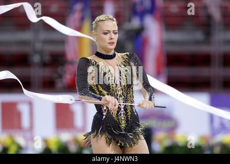 Sofia, Bulgaria - 6 May, 2017: Nicol Ruprecht from Austria performs during Rhythmic Gymnastics World Cup Sofia 2017. - Stock Photo