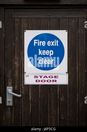 DEVIZES, UK - MAY 13, 2017: Stage door entrance to the , Wharf Theatre in Devizes UK - Stock Photo