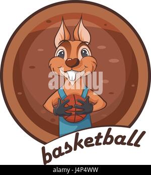 Cute squirrel. Animal playing basketball. - Stock Photo