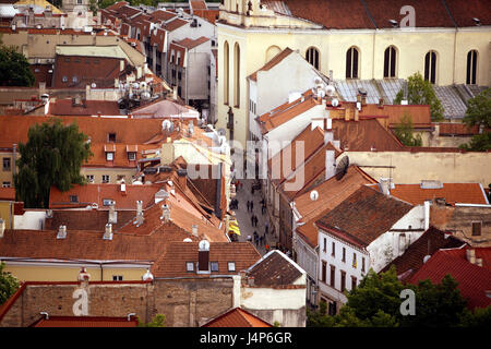 Lithuania, Vilnius, Old Town, town overview, evening light, - Stock Photo