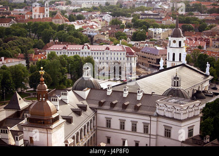 Lithuania, Vilnius, Old Town, cathedral Saint Stanislaus, bell tower, overview, evening light, - Stock Photo