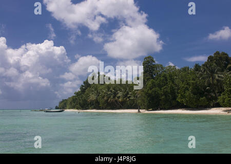 Boots, coast, turquoise-blue, Indian ocean, Havelock Insel, Andamanen, India, - Stock Photo