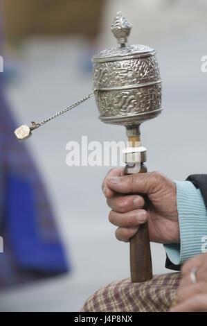 Pilgrim, detail, hand, prayer mill, hold, Thimpu, Bhutan, no model release, - Stock Photo