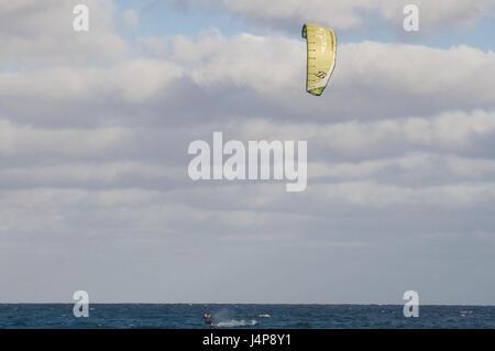 Kitesurfer, sea, Santa Maria, Sal, Kapverden, - Stock Photo