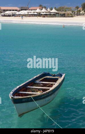 Oar boot, sea, beach, Santa Maria, Sal, Kapverden, - Stock Photo
