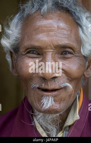 Man, old, Buddhist monk, Chimi Lhakhang, Bhutan, portrait, no model release, - Stock Photo