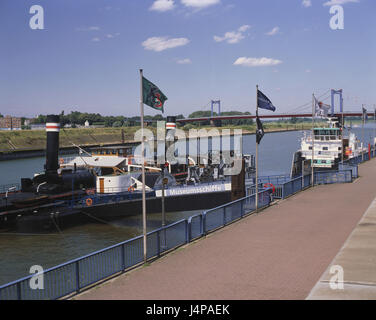 Germany, North Rhine-Westphalia, Duisburg, museum of the German inland ship journey, ships, dysentery area, town, - Stock Photo