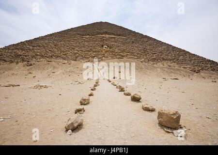 Input red pyramid of the Pharaoh Snofru, Egypt, Dahschur, - Stock Photo