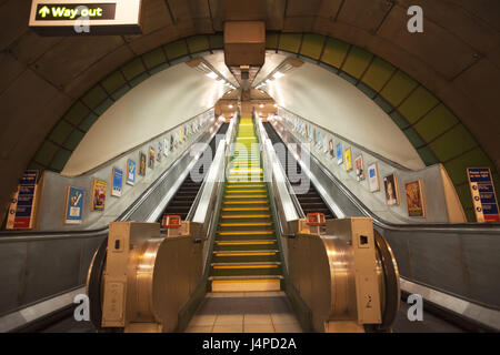 Great Britain, England, London, underground, subway station, escalators, stairs, - Stock Photo
