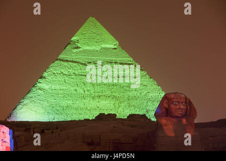 Light show in the pyramids of Gizeh, Egypt, Cairo, - Stock Photo