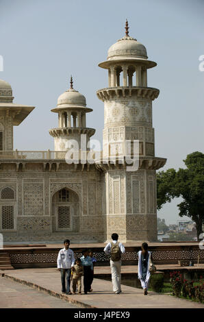 India, Uttar Pradesh, Agra, Itimad-Ud-Daulah mausoleum, - Stock Photo
