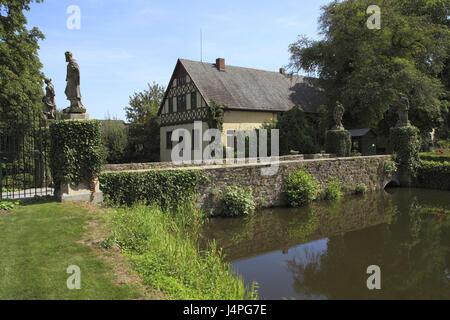 Germany, bath Essen-Lockhausen, lock castle Ippen, moated castle, new Gothic, lock bridge, lock goal, - Stock Photo