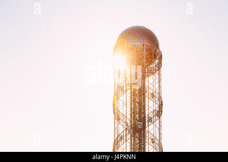 Batumi, Adjara, Georgia - May 25, 2016: View Of Alphabetic Tower In Miracles Park Of Georgian Resort Town Of Batumi. - Stock Photo