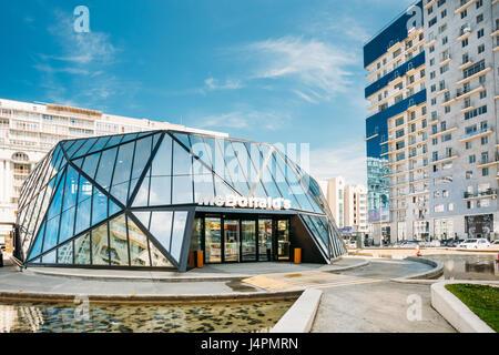 Batumi, Adjara, Georgia - May 25, 2016: Modern building of McDonalds restaurant. McDonald's Corporation is the world's - Stock Photo