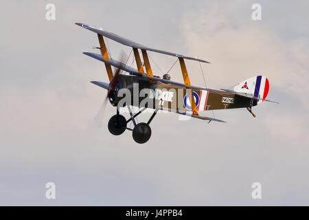 Sopwith Triplane 'Dixie' flying at Shuttleworth - Stock Photo