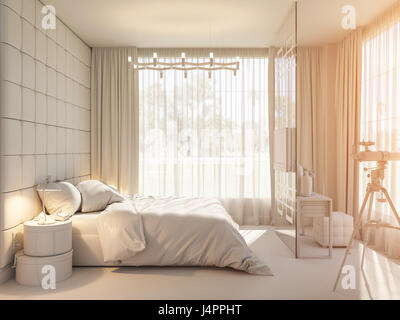 Privat house in modern style 3d illustration spherical - Interior design without a degree ...