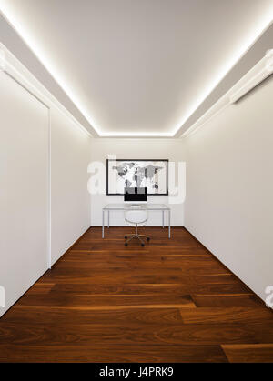 Modern office minimalist, white wall and parquet - Stock Photo