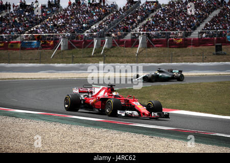 German Formula One driver Sebastian Vettel, of Ferrari, competes during 2017 Grand Prix of Spain at Barcelona-Catalonia - Stock Photo