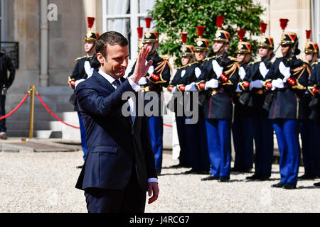 Paris, France. 14th May, 2017. French president Emmanuel Macron waves during an inauguration ceremony at the Elysee - Stock Photo