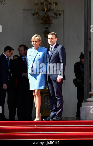 Paris, France. 14th May, 2017. French president Emmanuel Macron (R) attends an inauguration ceremony at the Elysee - Stock Photo