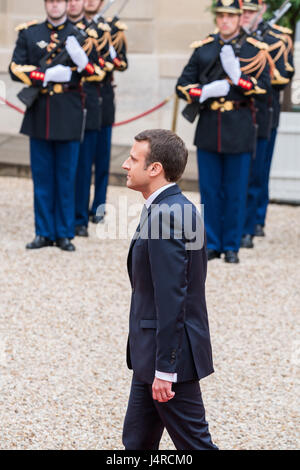 Paris, France. 14th May, 2017. Emmanuel Macron inauguration as france's new president at the Elysée Palace in Paris - Stock Photo