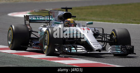 British Formula One driver Lewis Hamilton, of Mercedes, during 2017 Grand Prix of Spain at Barcelona-Catalonia racetrack - Stock Photo