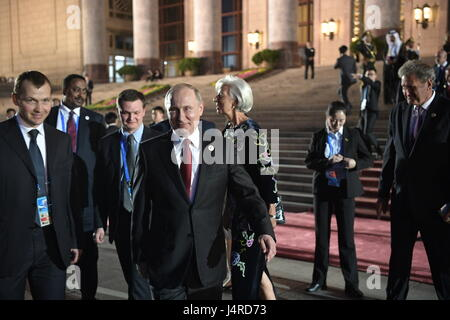 Beijing, China. 14th May, 2017. The president of the Russian Federation Vladimir Putin (C front), and the managing - Stock Photo