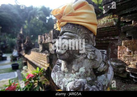 Indonesia, Bali, island, Ubud, temple, Goa Gajah, character, stone character, - Stock Photo