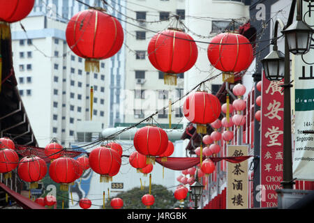 Singapore, island, town, China Town, Marktstrasse, market, lane, everyday life, economy, centre, lanterns, lamps, - Stock Photo