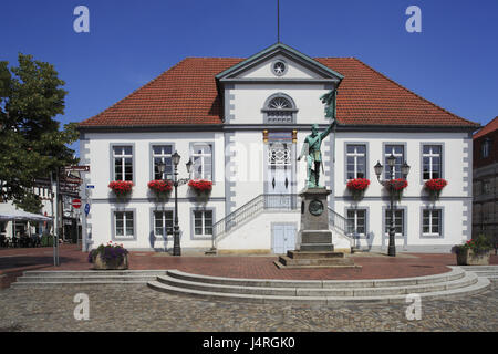 Germany, Quakenbrück, velvet parish kind country, hare's valley, Oldenburg cathedral country, Lower Saxony, marketplace, - Stock Photo