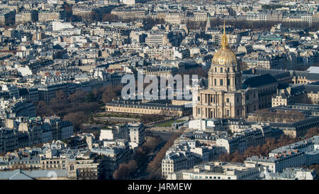 Aerial view of the Hotel des Invalides in Paris, France - Stock Photo