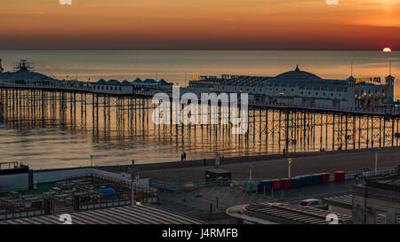 View of a sunset on the pier in Brighton - Stock Photo