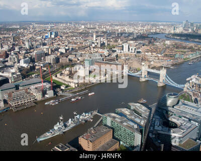 View from The Shard of the city of London with Tower Bridge spanning the River Thames, London, UK - Stock Photo