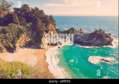 McWay Waterfall in Big Sur, California, USA - Stock Photo