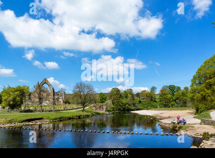 Bolton Priory and the River Wharfe, Bolton Abbey, Wharfedale, Yorkshire Dales National Park, North Yorkshire, England, - Stock Photo