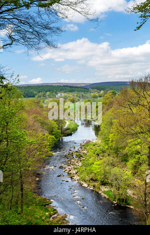 Barden Tower and River Wharfe from Strid Wood, near Bolton Abbey, Yorkshire Dales National Park, North Yorkshire, - Stock Photo
