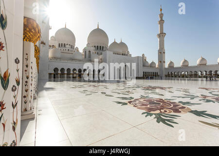 Sheikh Zayed Grand Mosque and mauseleum, Abu dhabi, UAE, - Stock Photo