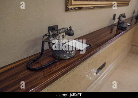 ornate, decorative telephone but also functional and operational - Stock Photo