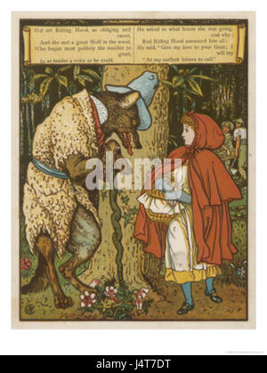Walter crane little red riding hood meets the wolf in the woods - Stock Photo
