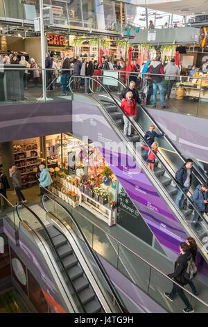 Interior of Markthal indoor food market, Dominee Jan Scharpstraat 298, Rotterdam, The Netherlands - Stock Photo