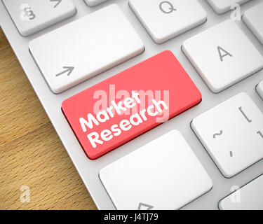 Market Research - Inscription on the Red Keyboard Keypad. 3D. - Stock Photo