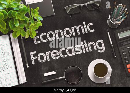 Economic Forecasting on Black Chalkboard. 3D Rendering. - Stock Photo