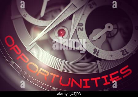 Opportunities on Luxury Wristwatch Mechanism. 3D. - Stock Photo