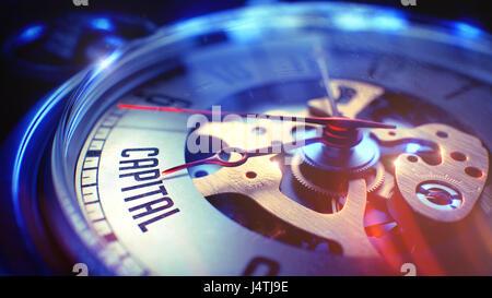 Capital - Text on Vintage Pocket Clock. 3D Illustration. - Stock Photo